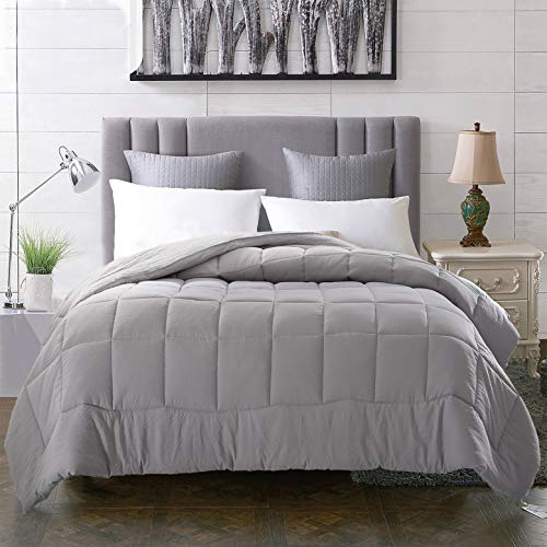 EVOLIVE All Season Pre Washed Soft Microfiber White Goose Down Alternative Comforter (Grey, Full/Queen)