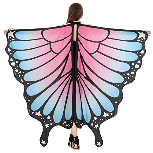 HITOP Butterfly Wings for Women, Butterfly Shawl Fairy Ladies Cape Nymph Pixie Costume Accessory (Blue Pink)