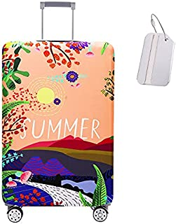Luggage Cover Travel Suitcase Protector Washable Dustproof Anti-Scratch Baggage Cover with Suitcase Tag,Luggage-Summer ora...
