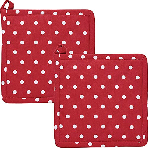 REDBEST Topflappen, Untersetzer Punkte 2er-Pack, 100% Baumwolle rot Größe 20x20 cm- hitzebeständige Wattierung, außen Robustes, glattes Gewebe (weitere Farben)