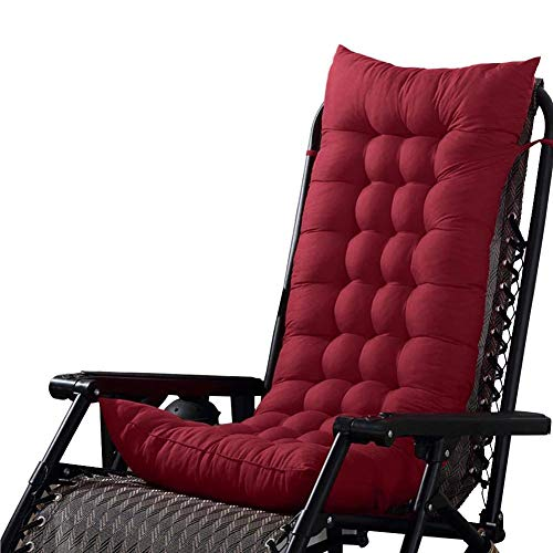 Patio Chair Lounger Cushion Indoor Outdoor Sofa Rocking Chair Cushion with Backrest Chair Pad Thick Padded Seat Cushion for Swing Bench Red Wine 48x125cm(19x49inch)
