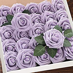 Artificial Flowers Lilac Roses W/Stem, Rustic Farmhouse Decor for Home Wedding Kitchen and Office Ideal Bridal Shower Party Home Decorations 25pcs