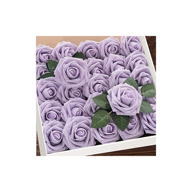 silk flower arrangements artificial flowers lilac roses w/stem, rustic farmhouse decor for home wedding kitchen and office ideal bridal shower party home decorations 25pcs