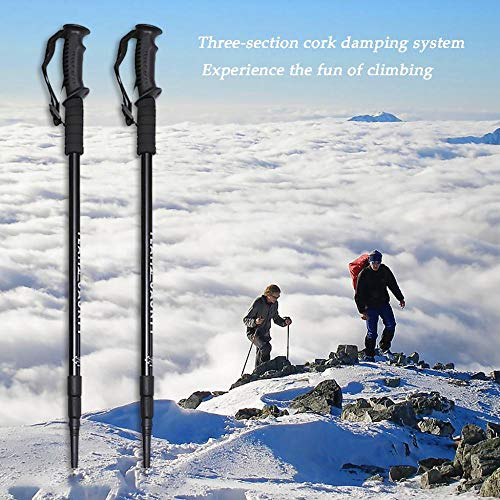 Nordic Walking Trekking Poles - 2 Pack with Antishock and Quick Lock System, Telescopic, Collapsible, Ultralight for Hiking, Camping, Mountaining, Backpacking, Walking, Trekking