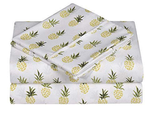 Caribbean Joe Ultra-Soft Double Brushed 4-Piece Microfiber Sheet Set Beautiful Tropical Patterns, and Vibrant Solid Colors, Luxury, All-Season Bed Sheet Set - Pineapple, Queen