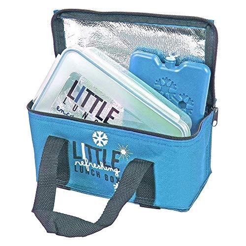 Unbekannt Mini-koeltas met lunchbox en koelaccu broodtas picknicktas lunchtas, kleur: blauw