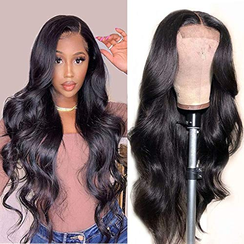 Lace Front Wigs Human Hair Wigs for Black Women, Brazilian Virgin Hair Body Wave Lace Closure Wigs Pre Plucked with Baby Hair Natural Color( 20 Inch)