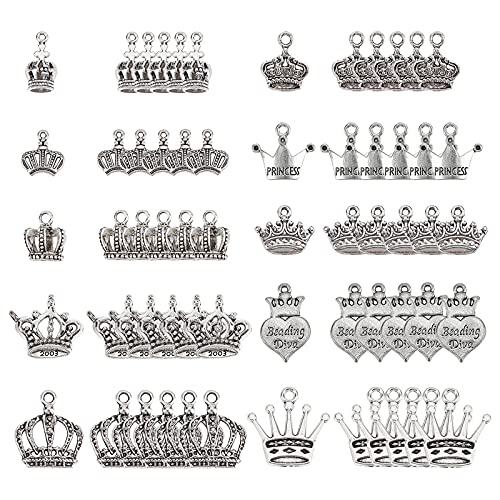 SUNNYCLUE 1 Caja 60 Piezas 10 Estilos Estilo Tibetano Abalorios Corona Vintage King Queen Colgantes de Aleación Suministros Joyería para Mujeres Adultos DIY Pulsera Pendiente Fabricación de Joyas