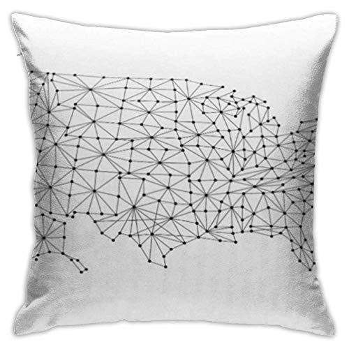 Cup Off Throw Pillow Cover Red Mapa de Estados Unidos América de poligonales líneas Negras y Puntos Funda de Almohada Cuadrada de Malla Funda de cojín