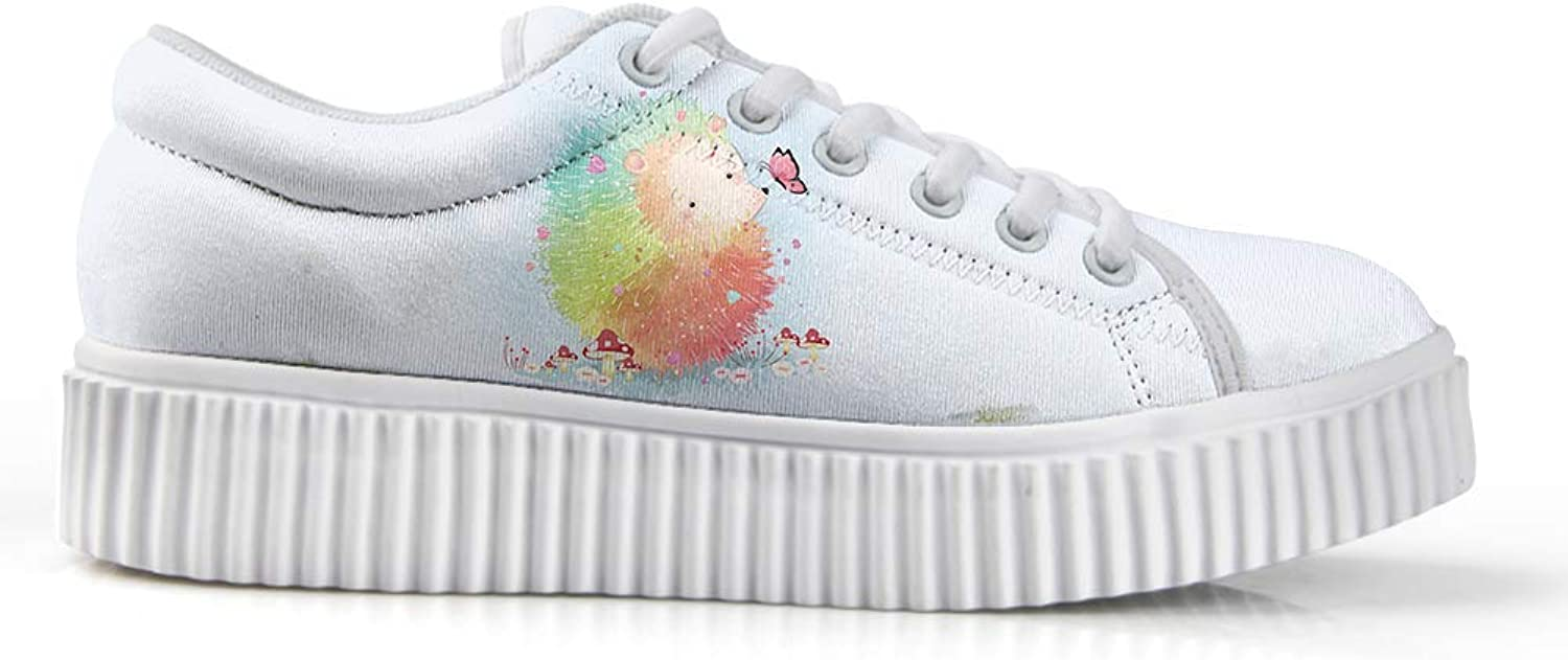 Owaheson Platform Lace up Sneaker Casual Chunky Walking shoes Low Top Women color Paint Hedgehog Playing with Butterfly