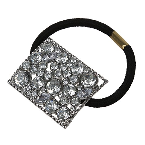SODIaL(R) argent Metal Strass Bande de cheveux attache Porte queue de cheval Fille Chic