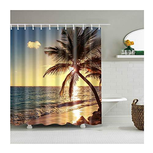 TANGAN Duschvorhang Wasserabweisend und Anti Schimmel, 3D Strand Sonnenuntergang Thema Badezimmerzubehör Duschvorhänge mit 12 Plastik Duschvorhangringen,C,90x180cm