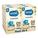 Nestlé Papilla 8 cereales - Alimento Para bebés - Paquete de 6x600 g - Total: 3.6kg