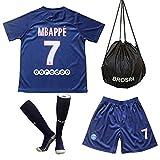 Brosin Maillots de Sport Garçon Football T-Shirt/Short/Chaussette, 2020 Paris Saint Germain PSG #10 Neymar Jr #7 MBAPPE #9 Cavani Vêtements Populaire pour Enfant Garçon