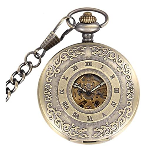 HHTD Reloj de bolsillo clásico tallado romano hueco automático mecánico de bolsillo reloj de bolsillo retro hombres y mujeres regalo reloj de bolsillo regalo para el cumpleaños aniversario día navidad