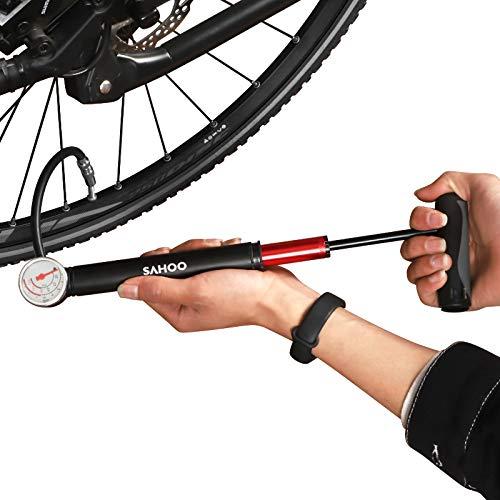 CNLOYUA Mini Fahrradpumpe Fahrrad Luftpumpe,mit Manometer, 80 psi 5,5 bar.Minipumpen für Rennrad, Fußbälle,Mountainbike, Basketbälle
