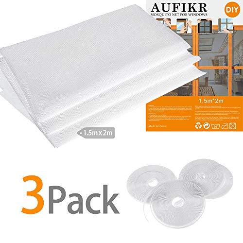 3 Stück Insektenschutznetz für Fenster mit 4 Rollen selbstklebende Bänder, Fliegenfliegengitter Insektenschutz-Kit, 2,0 m x 1,5 m, Weiß