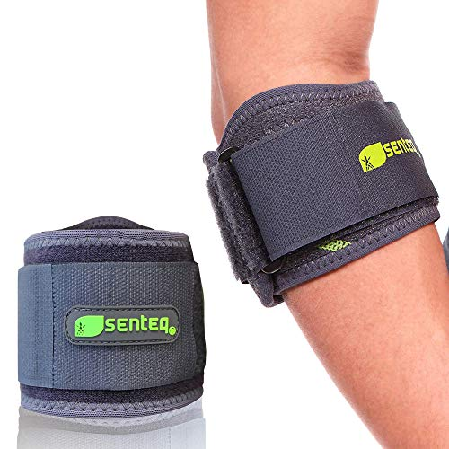 SENTEQ Elbow Brace Support Strap for Tendonitis and Forearm Pain Relief. Tennis & Golfer's Elbow Band With Dual Layer Compression, GEL Pad & Wide Adjustable Strap