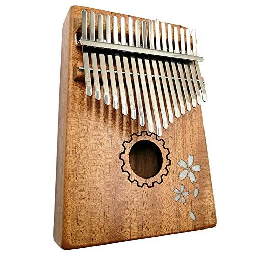 HIKYA カリンバ 17キー Kalimba 親指ピアノ 17トーンカリンバ 初心者 音楽愛好家に向け ベニヤ 桜の彫刻