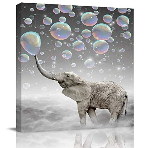 Canvas Wall Art Painting for Home Office Bathroom Decoration,Funny Elephant with Bubble Grey Picture Giclee Print on Canvas Artworks,Framed,Ready to Hang,16x16in