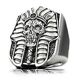Pharaoh Skull Ring for Men, Egyptian Ring, Mummy Rings, Amulet Ring, Egyptian Jewelry Gift for Men Boys (Silver, 8)