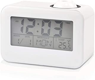 Digital Projection Clock, LCD Display Alarm Clock Voice Control Ceiling Projection with Temperature Date Calendar Snooze Function, Suitable for Students, The Elder, Office Men and More