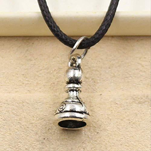 xtszlfj Tibetano Color Plata de ajedrez peón Colgante Collar Gargantilla Encanto Negro Cuero cordón Precio joyería Hecha a Mano