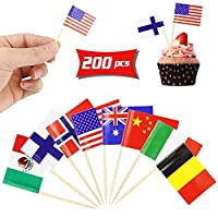 Hslife 200Pcs Different Countries World Flag Sticks Toothpick Flag Cocktail Sticks Cupcake Picks for Bar,Sports Party,Events Decoration [並行輸入品]