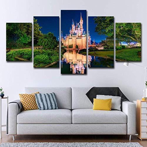 bnkrtopsu 5 Cuadro en Lienzo 5 Fotos Juntas en una Sala de Estar Dormitorio Creativo murales Decorativos y Carteles(Sin Marco) Castillo de Cenicienta del Mundo Abstracto