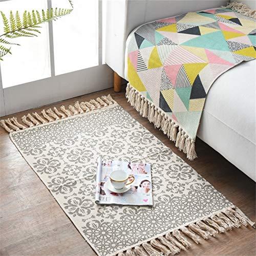 Alfombra de algodón tejida, alfombra para dormitorio geométrica con flecos, estilo bohemio, alfombra para salón, dormitorio, cocina, entrada interior, lavable a máquina, 60 x 90 cm (tipo C)