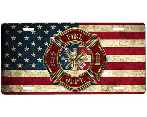 onestopairbrushshop Firefighter License Plate