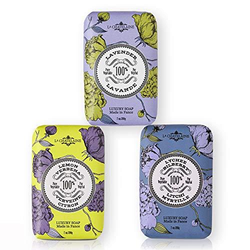 La Chatelaine Luxury Bar Soap | Natural Shea Formula | 7 oz (Lavender, Lychee Bilberry, Lemon Verbena, Set of 3)