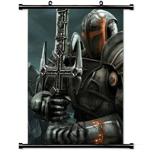 Wall Scroll Poster with Hellgate London Warriors Knights Sword Home Decor Wall Posters Fabric Painting 23.6 X 35.4 Inch