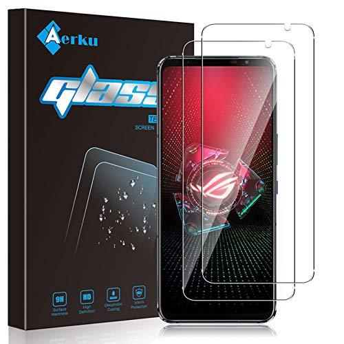Aerku Protector de Pantalla Compatible con ASUS ROG Phone 5[2 Piezas], 9H Alta Sensibilidad 2.5D[Sin Burbujas] Cristal Templado Protector de Pantalla para ASUS ROG Phone 5[Transparente]