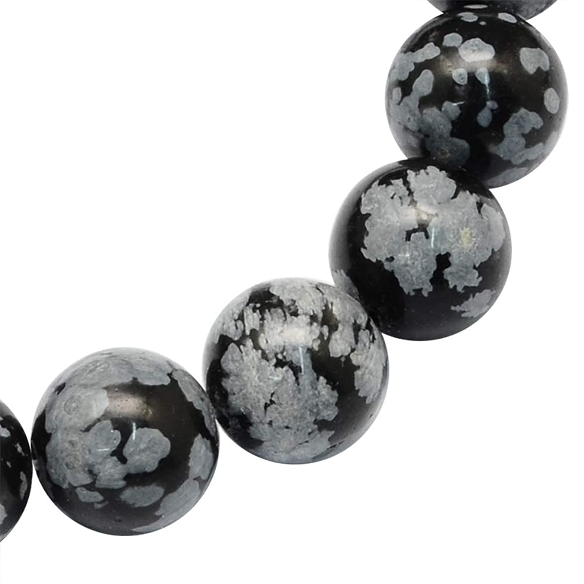 ARRICRAFT 5 Strands 8mm Natural Snowflake Obsidian Round Smooth Loose Beads for Jewelry Making, About 47pcs/Strand