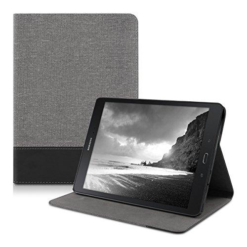 kwmobile Hülle kompatibel mit Samsung Galaxy Tab A 9.7 T550N / T555N - Slim Tablet Cover Case Schutzhülle mit Ständer Grau Schwarz