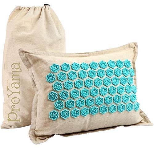 Almohada de masaje de acupresión con bolsa de transporte para el dolor de espalda, cojín de acupuntura Pro Yama, estera Shakti con puntas de loto