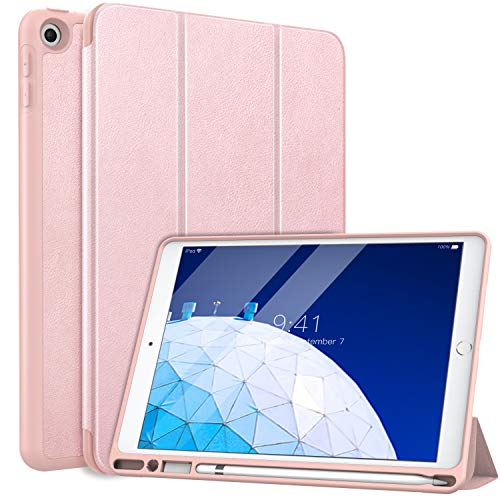MoKo Case Fit New iPad Air 3 2019 (3rd Generation 10.5 inch) with Pencil Holder - Slim Lightweight Smart Shell Stand Cover Case with Auto Wake/Sleep Fit iPad Air 3 2019 Tablet - Rose Gold