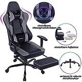 VON RACER Massage Gaming Stuhl - Hohe Rückenlehne Racing Computer Schreibtisch Bürostuhl Drehbarer Ergonomischer Chefsessel aus Leder mit Fußstütze und Verstellbaren Armlehnen, Grau