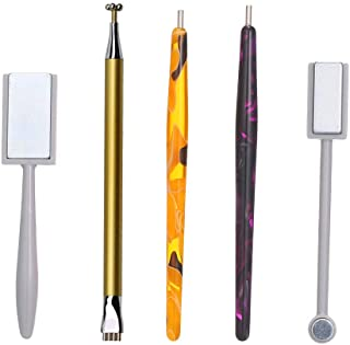 Adaskala 5Pcs Nail Magnet Tool Set With Double Head flower Design Nail Magnet Pens And Strong Magnet Stick For Cat Eye Gel...