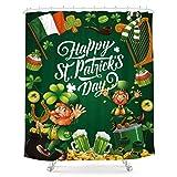 LIGHTINHOME St.Patrick's Day Shower Curtain Harp Green Clover Shamrock Irish 60Wx72H Magic Leprechaun Cartoon Characters Fabric Waterproof Home Bathtub Decor 12 Pack Plastic Hooks