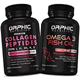 Collagen Peptides & Omega 3 Fish Oil (90+90 Pills) - Types I, II, III, V, X - Promotes Hair, Skin and Nail Health - Improves Digestion - Essential Fatty Acids Supplement Supports Heart & Joint Health