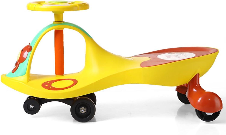 QFFL Kinder schwingen Auto Dreirad   Baby Auto 1-3-6 Jahre alt leise Rad Musik Auto Kinderauto (Farbe   A)