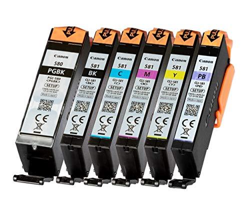 Canon Setup PGI-580 CLI-581 Set de 6 cartouches d'encre de configuration d'origine pour imprimante Pixma Couleur bleu photo incluse