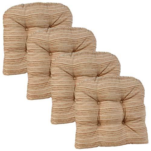 Klear Vu Memory Foam Chair Cushions, Non-Slip Grip Dot, 15 x 15 x 3 Inches, Set of 4, Natural Tan