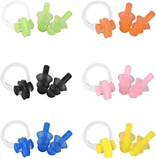 Pinky Time 6 Sets Waterproof Silicone Swimming Earplugs and Nose Clip for Adults Children Age 7+