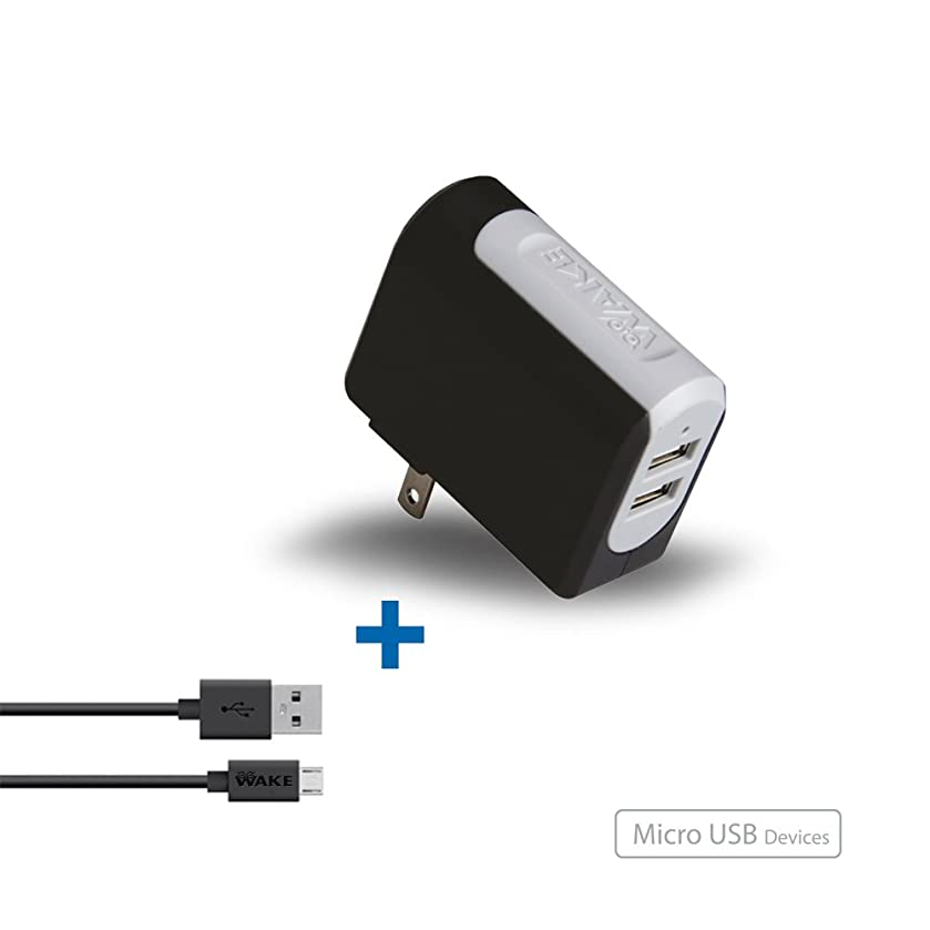 WAKE OEM Wall Charger Home/Travel 2Port 3.4Amp - MICRO to USB Cable 4 Ft(1.2Mts) for Samsung Galaxy S3/S3MINI/S4/S4MINI/S5, Nexus 4/5/5X, HTC U/One, Motorola MOTO Z/X/G/E, LG GS/G6/G7 and More (Black)