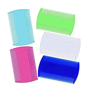 weback Pet Combs, Cat Dog Pet Grooming Fine Tooth Hair Combs Flea Comb for Cats, Plastic flea Comb, Lice Comb for Dogs,Tick Comb, Double Sided Comb for Hair of Pets or Humans(5pcs)
