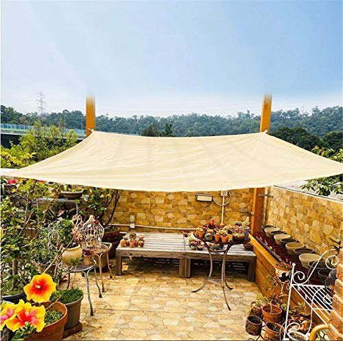 ZMXZMQ 100% HDPE Rectangle Shade Canopy Sand Color UV Block, Sun Shade Sails, with 5M Sturdy Hardware Kit, for Deck, Patio, Pergola, Backyard Outdoor,2x5m
