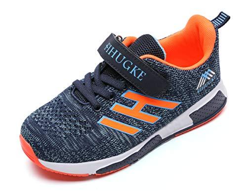UnpowlinkAtmungsaktiv Turnschuhe Jungen Hallenschuhe Kinder Sneaker Mädchen Bequeme Schuhe Outdoor Laufschuhe für Unisex-Kinder , Upwk Blau Orange, 35 EU